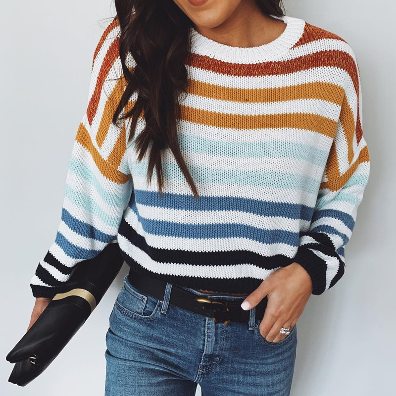 Multicolor Stripe Sweater Women Pullover 2019 Knitted Sweater Casual High Street Loose Long Sleeves Sweater Female Jumpers