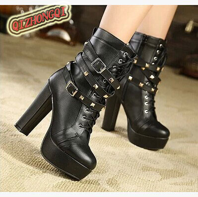 Popular Women Motorcycle Boots Fashion Winter Ladies Vintage Combat Army Punk Goth Ankle Shoes Women ...