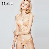 Munllure Fresh perspective mesh sexy bra set cotton bow girl ultra thin upper underwear women bra set
