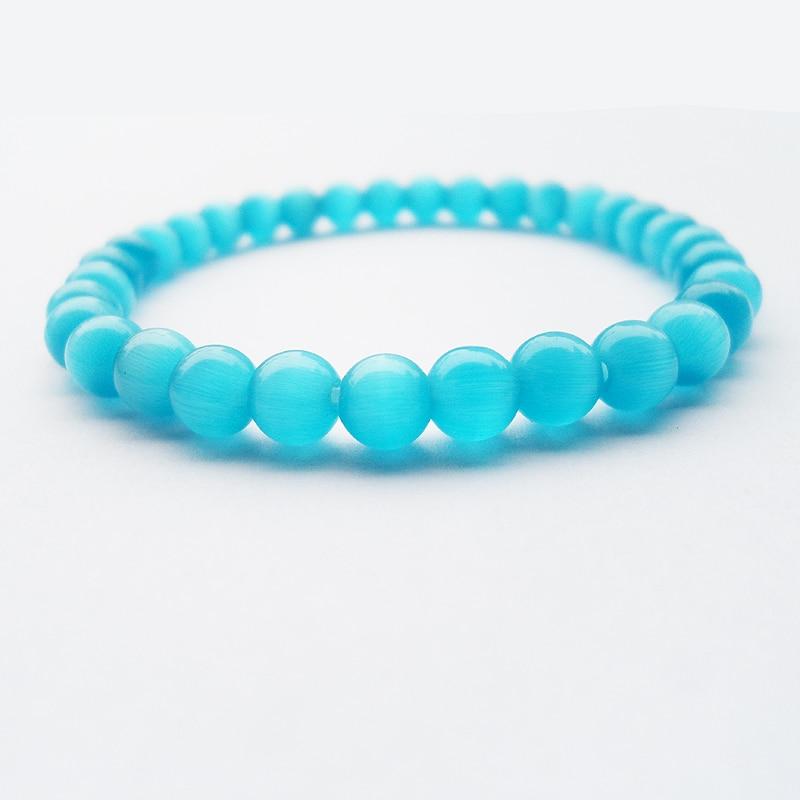 Pure natural good quality DUY 6MM blue Cat's eye Semi-precious Stone Women Beaded Bracelet jewelry