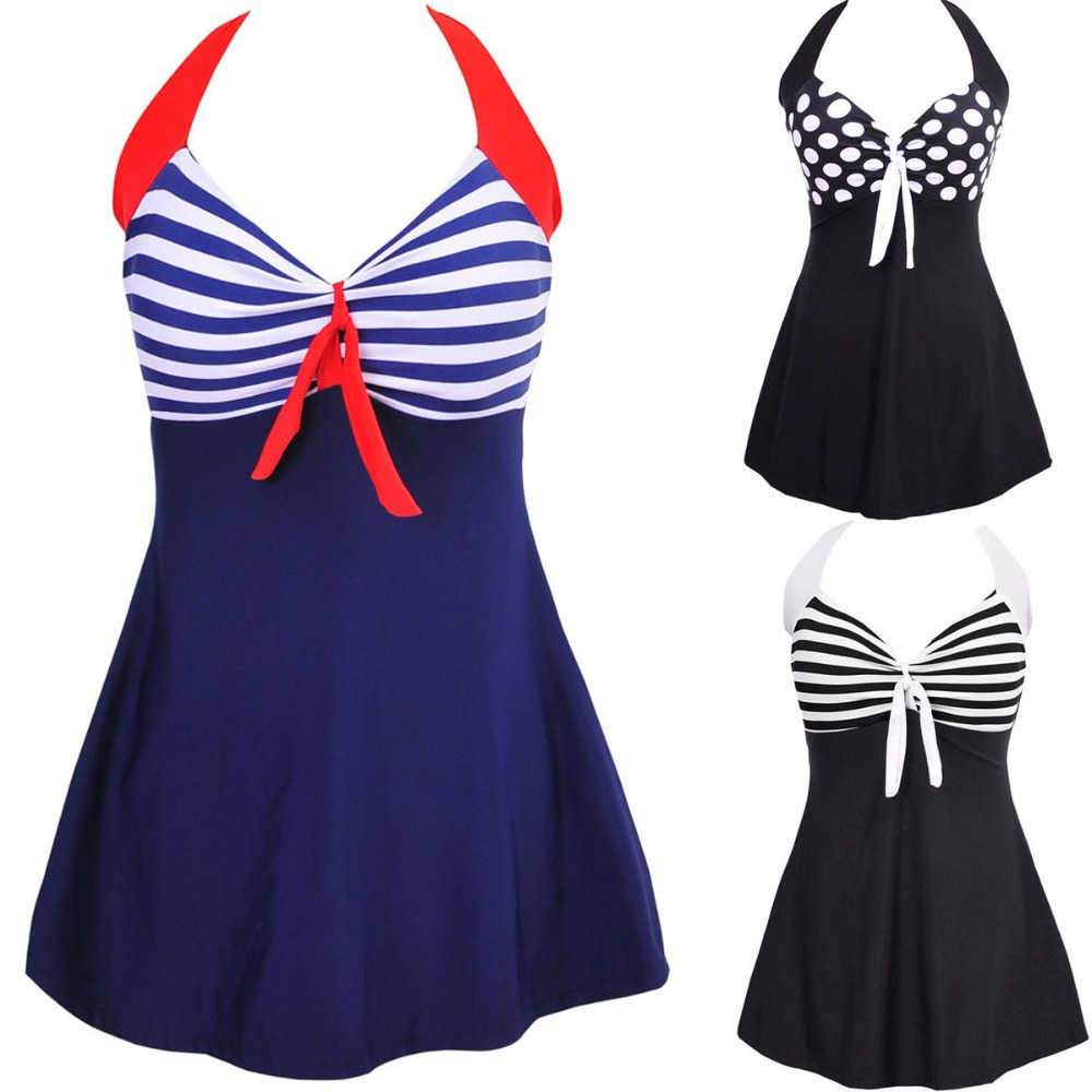 Sexy Plus Size Stripe Padded Halter Skirt Swimwear Women One Piece Suits Swimsuit Beachwear Bathing Suit Swimwear Dress M To 4XL trendy solid color halter pleated one piece skirt swimwear for women