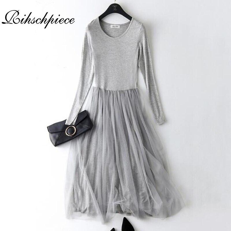 626b838b9 Rihschpiece primavera maxi vestido feminina preto túnica vintage plus size  gaze mulheres vestido modal sexy malha praia casual manga longa vestidos  longo de ...