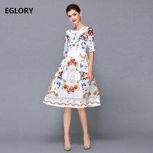 Új Chic női ruhák nyári 2018 női nyakú cseh nyomtatott fél ujj nagy lengésű kiömlött hímzés pamut ruha fehér