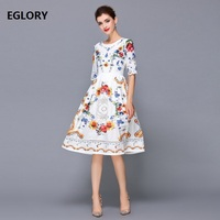 New Chic Women's Dress Summer 2018 Ladies O Neck Bohemian Print Half Sleeve Large Swing Hollow Out Embroidery Cotton Dress White