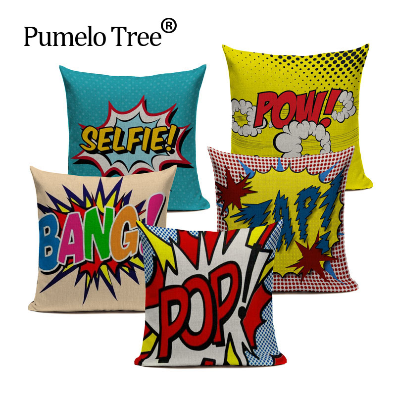 18 Square Color Graffiti Rock And Roll Style Cushion Covers Letters POP WOW POW BANG Superman Print Pillow Cover Pillowcase