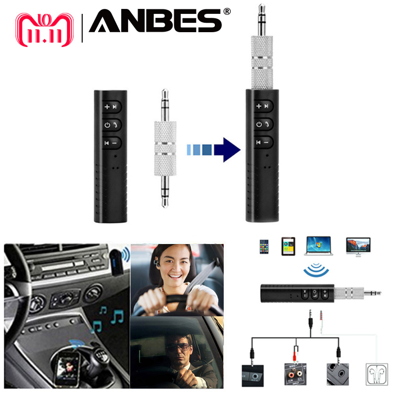 ANBES Mini Bluetooth Receiver Bluetooth Audio Transmitter 3.5mm Jack Handsfree Bluetooth Car Kit Music Adapter Bluetooth Car AUX цена