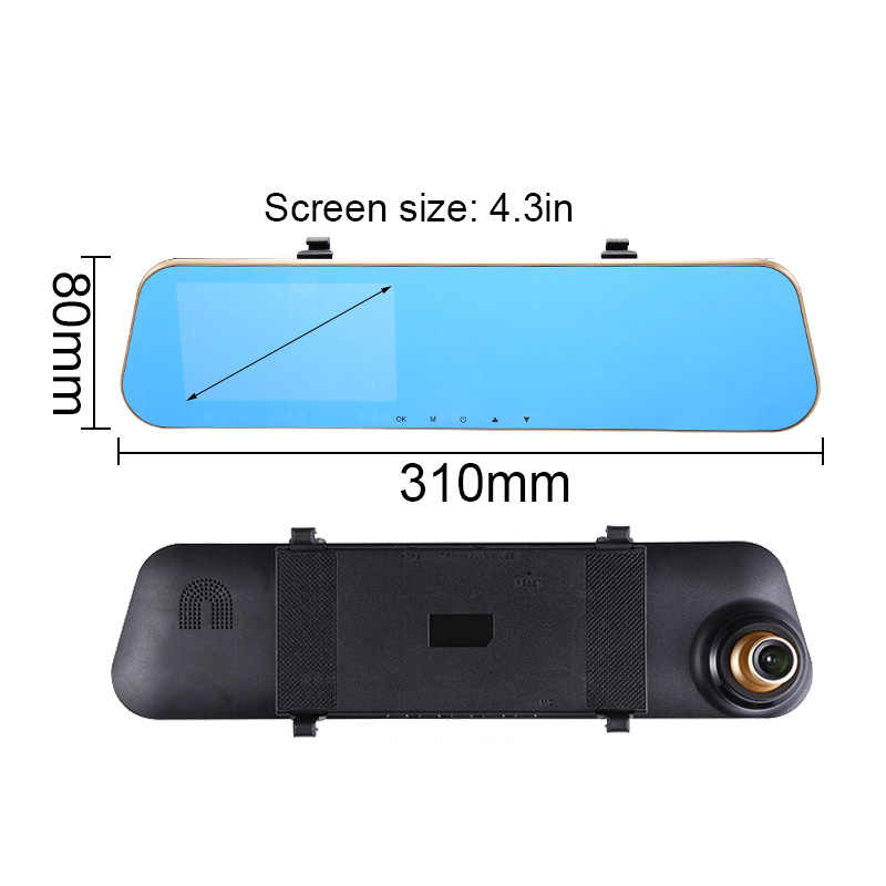 TOSPRA doble lente coche DVR Cámara 4,3 ''Full HD 1080P espejo retrovisor Video conducción grabadora visión nocturna cámara de salpicadero de grabación de bucle