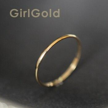 9k anel de empilhamento de ouro sólido minimalista solitaire anel de noiva dama de honra bff casal amor simples presente noivado