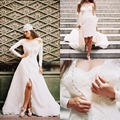2015 Elegant Wedding Dress Lace Knee Length Detachable Long Sleeve Cover Button Jacket Wedding Dresses Two Pieces Bridal Gowns
