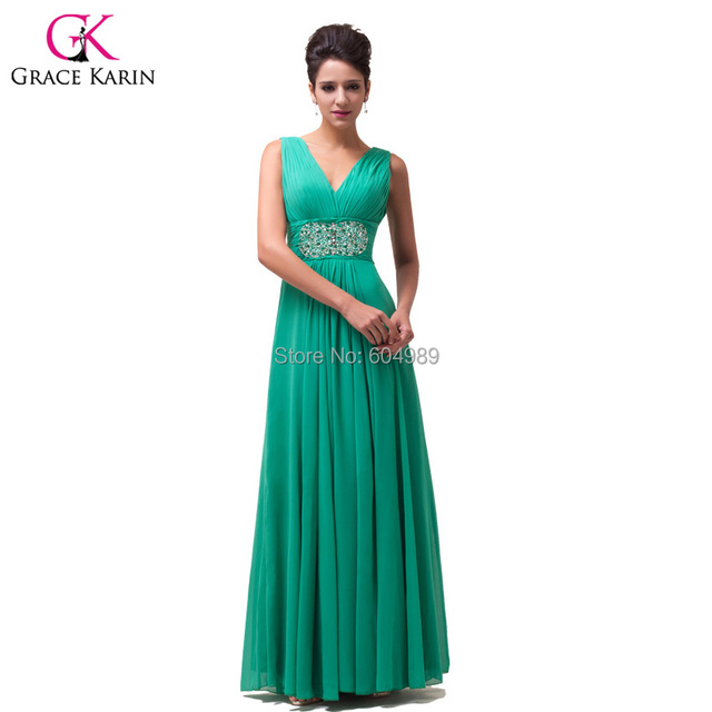 Fashion Beaded Chiffon Green Long Evening Dresses 2017 Cheap Prom ...