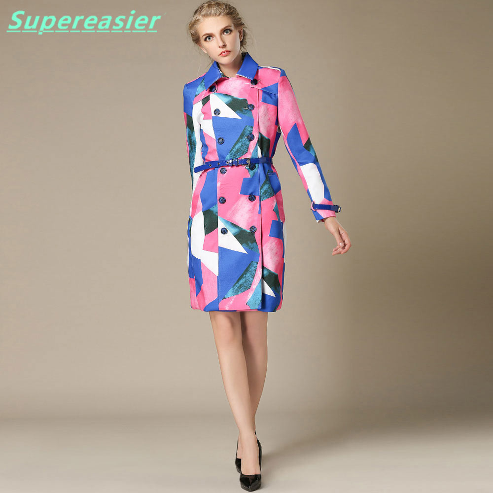 New Fashion Women Double breasted Trench Coat Long Sleeve Coats Outwear 2016 Women Summer Winter Thin