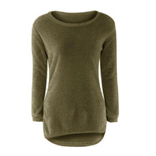 Free Ostrich Autumn Winter Sweater Women Long Knitted Irregular Loose Pullover Knitwear Tops 2017 New D30