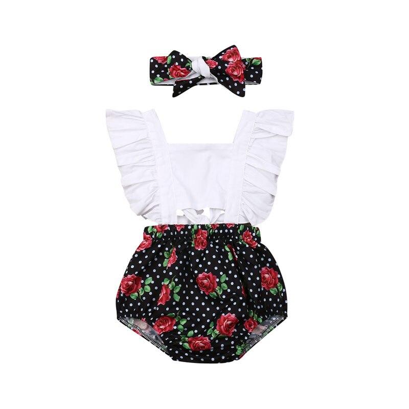 Focusnorm Newborn Baby Girl 0-24M Cotton   Romper   Off Shoulder Print Floral Headband Outfit Jumpsuit Playsuit Clothes 2PCS