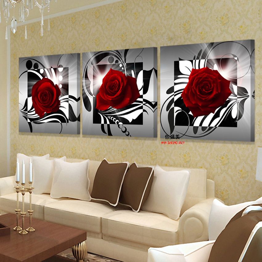 Buy Painting flower Oil 3 piece Canvas Art Modern Red Roses home decoration living Wall decor Decorative pictures Print (no Frames) for $5.23 in AliExpress store