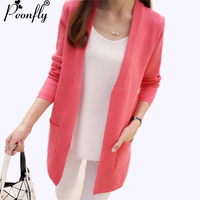 PEONFLY Womens Sweaters 2017 Spring Autumn Knitted Long Cardigan Female Korean Slim Pocket Loose Knit Outwear