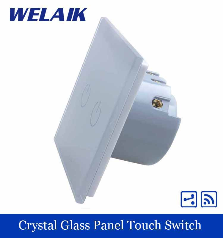WELAIK Crystal Glass Panel Switch White Wall Switch EU Touch Switch Screen Wall Light Switch 2gang2way AC110~250V A1924W/B smart home eu touch switch wireless remote control wall touch switch 3 gang 1 way white crystal glass panel waterproof power