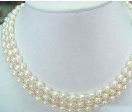 FREE SHIPPING>>>  3Rows 8-9mm White Akoya Cultured Pearl   Beads Necklace 17-19""