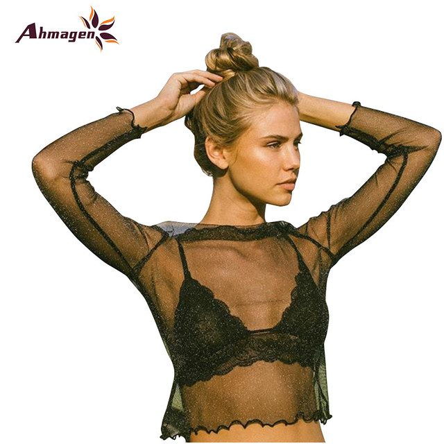 Ahmagen Black Sexy See-Through Crop Tops 2017 Trend Fashion Women Mesh Tops Long Sleeve O-neck Female Bottoming T Shirt Woman