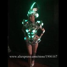 RGB подсветкой Sexy Lady Костюмы для бальных танцев костюм LED DJ ночной клуб вечернее платье одежда Танцы шоу на сцене свет бюстгальтер Костюмы