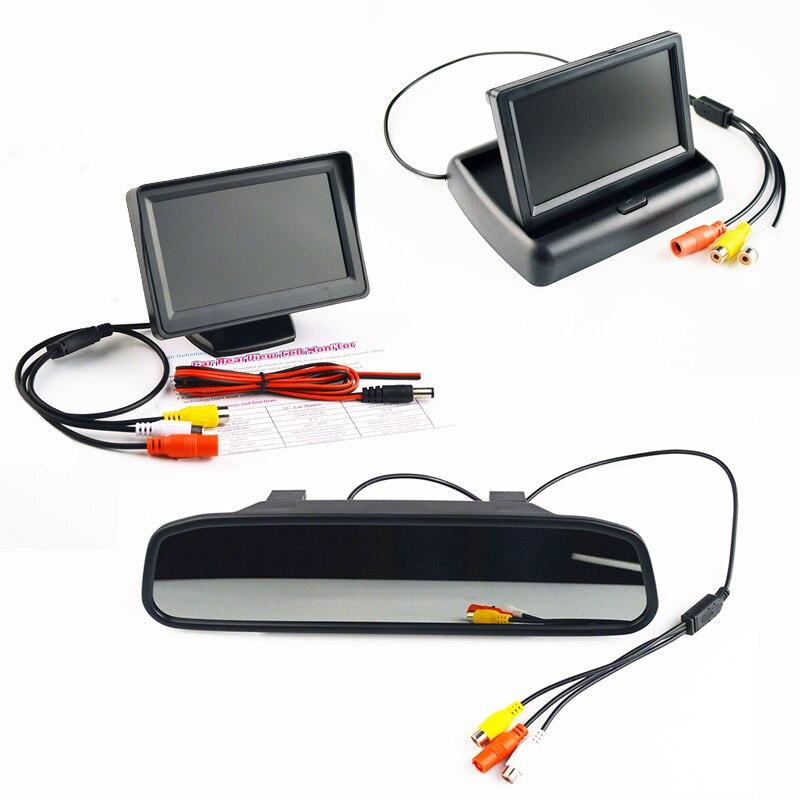 Показателя viecar ЖК-дисплей автомобиля Мониторы 4.3 дюймов TFT Дисплей Desktop/складной/зеркало 4.3 ''видео PAL/NTSC авто стояночный тормоз заднего вида резервного копирования