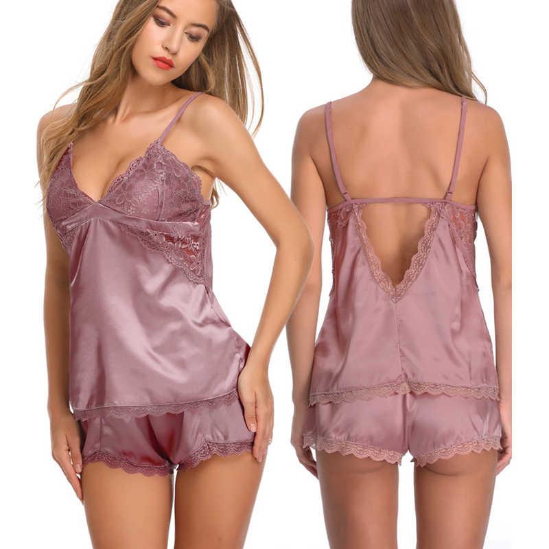 Deep V Neck Lingerie Laces Camisole Nightgown Sleepwear Silk Pajama Babydoll