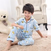 Осенне-летние детские пижамы хлопковый Детский костюм с короткими рукавами для больших девочек милые детские удобные пижамы подарок для мальчиков, 2 предмета