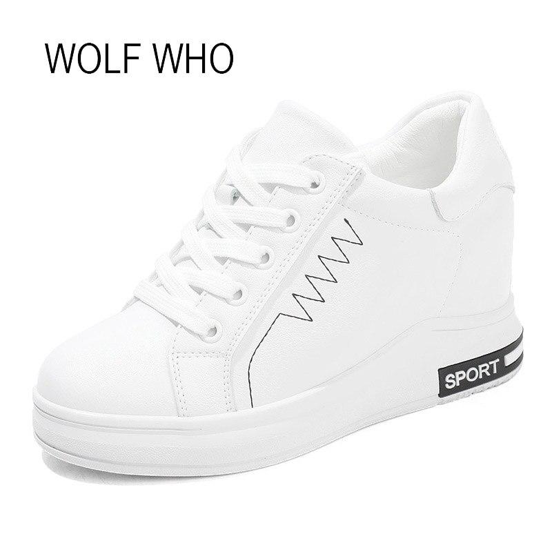 WOLF WHO 2018 White Women Wedge Sneakers Basket Femme Women Wedge Shoes Women High Heel Sneakers Ladies Platform Shoe H 462