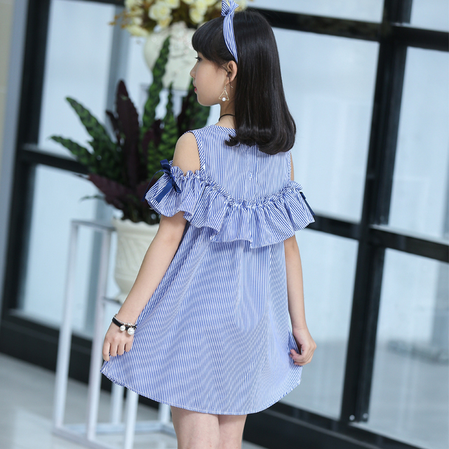 Children's Wear Girl Striped Dress Summer 2019 New Kids Princess Big Boy Little Girl Korean Edition 12 11 10 9 8 7 6 5 year old