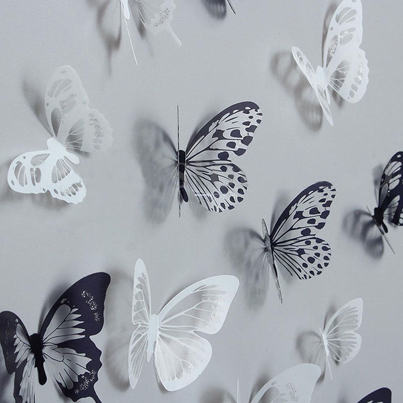 18Pcs 3D Black And White Butterfly Sticker Art Wall Decal Home Decoration Room Decor  Hot Sale(China)