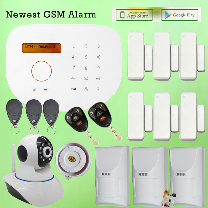 GS-S2G Wireless Wired GSM SIM Card Dial Home Alarm System Touch Screen LCD Display IOS Android APP Alarm WIFI IP Camera gs x1 2 7 screen app control 4 channel wireless gsm home alarm system white black us plug