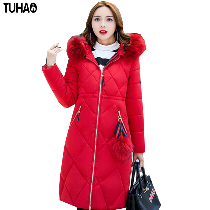 TUHAO 2017 New Women Long Winter Fur Hooded Slim Jacket Thick Warm Cotton Coat Pure Color Fashion Outwear Plus Size 3XL LW30 tuhao lady down cotton pure color manteau femme hiver thick warm jackets 2017 new autumn winter women hooded long coats lw20
