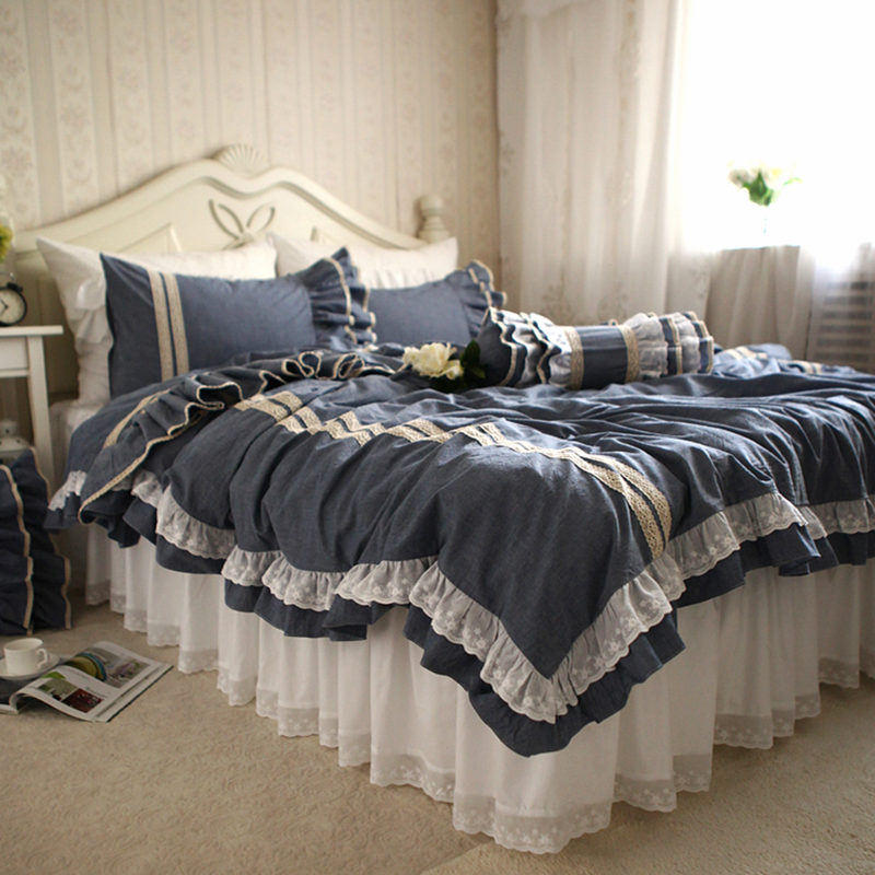 Top hot European style embroidered bedding set elegant lace ruffle duvet cover luxury bedspread wrinkle bed