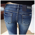 2015 New Women High Waist Jeans Woman High Waisted Jeans Skinny Plus Size Ladies High Waist Pencil Jeans For Women