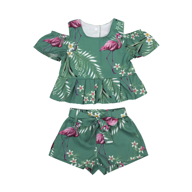 fa0f4b0f123e1 Toddler Kids Baby Girls Clothes Sets Fashion Summer Flamingo 2Pcs Floral  Shoulderless T-shirts Tops Bow Belt Shorts Sets 6M-4Y ~ Best Seller July  2019