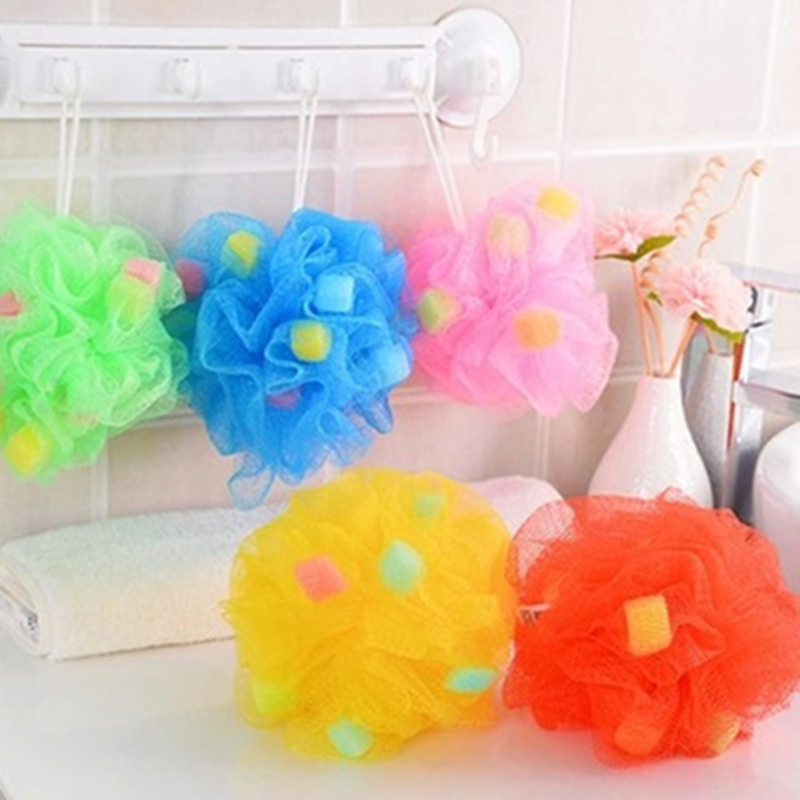 Fashion Soft Body Bubbles Sponge Bath Ball Nylon Scrubber Cleaning Bath Sponge Muilticolor Shower Flower For Bath