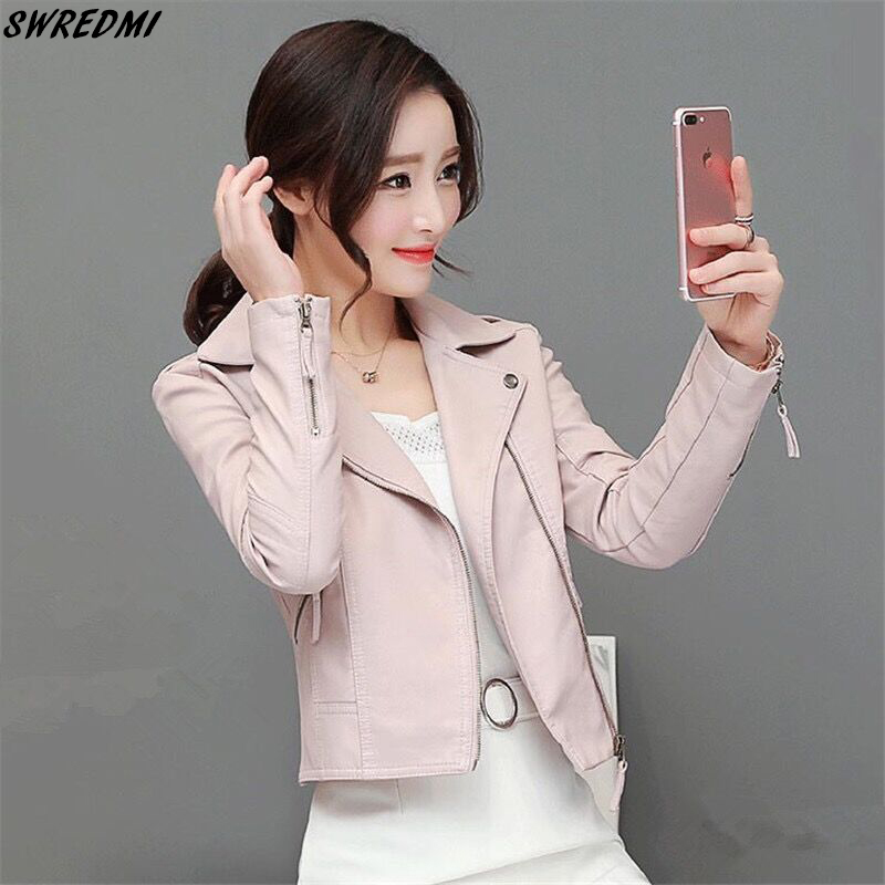 SWREDMI 2019 Spring   Leather   Clothing Women Pink Biker   Leather   Jacket Female Motorcycle Slim Short   Leather   Coat Autumn Plus 4XL