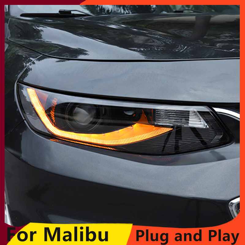 Image 3 - Car Styling For Malibu Headlights 2016 2018 Malibu LED Headlight LED DRL dynamic turn signal  Bi Xenon HID Accessories-in Car Light Assembly from Automobiles & Motorcycles