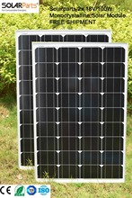 Solarparts 2x 100W Monocrystalline Solar Module by mono solar cell factory cheap selling 12V solar panel