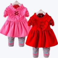 2 pz Set Dolce Principessa Neonate del Bambino Capretti Lace Up dress suit costume set con pantaloni abbigliamento per bambini china a buon mercato abiti