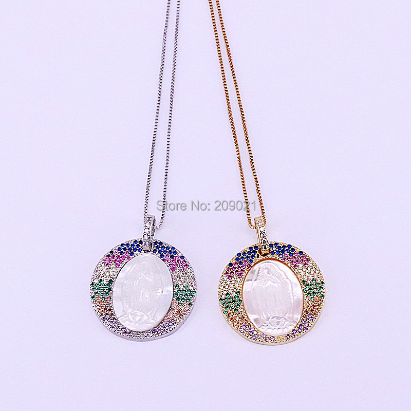 New 5Pcs Fashion Multi color CZ Micro Pave Round Shaped Oval Shell Mary Pendant Necklace For