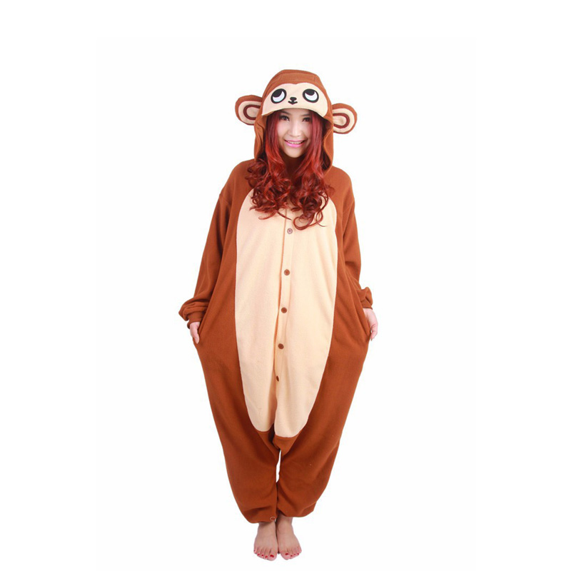 35c15c6a41 Zwierząt Onesie Dorosłych Kid Piżamy Jednorożec Brązowy Małpa Cosplay  Kostiumy Piżamy Halloween Cosplay