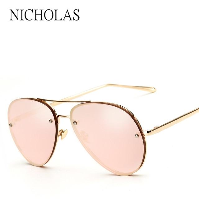 4d4f4022d NICHOLAS Luxury Sunglasses Women Brand Designer Female Rose Gold Famous  Mirror Sun glasses Ladies Eyewear Oculos De Sol Feminino