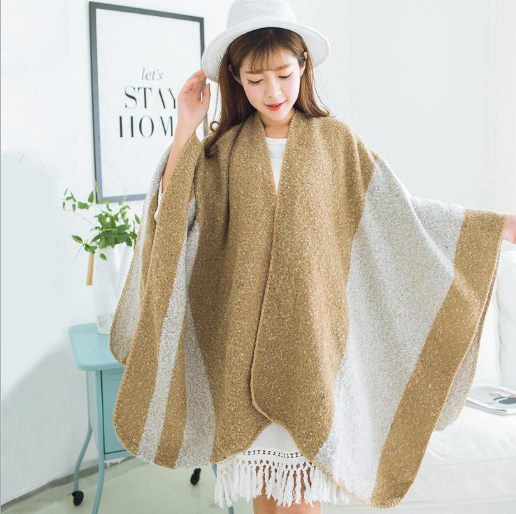 Women Poncho Winter Fall Wool Women Scarves Long Wraps Shawls Thick Warm Cotton Pashmina Cashmere Printed Womens Scarf