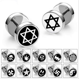 RetroGem Men silver Stud Earrings Jewelry Earring for