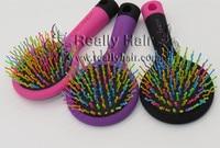 2016 Hot Sele 1pcs Rainbow Volume Anti Static Magic Detangler Hair Curl Straight Massage Comb Brush