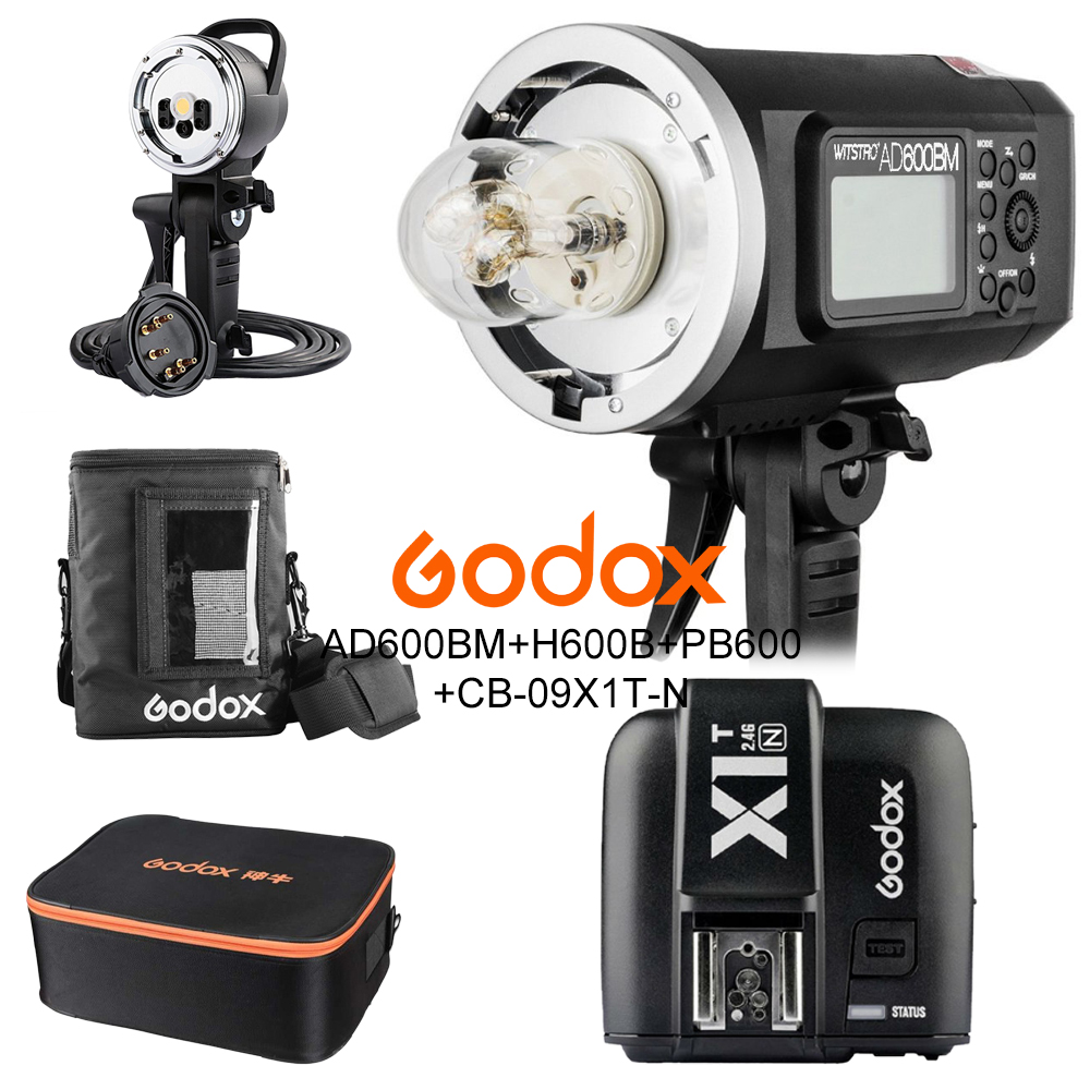 Godox ad600bm 600 Вт HSS 1/8000 2.4 г Беспроводной открытый вспышка + x1t n + ad h600b + pb 600 + cb 09 Комплект для Nikon D810 D800 d750 d500 D5 D4S