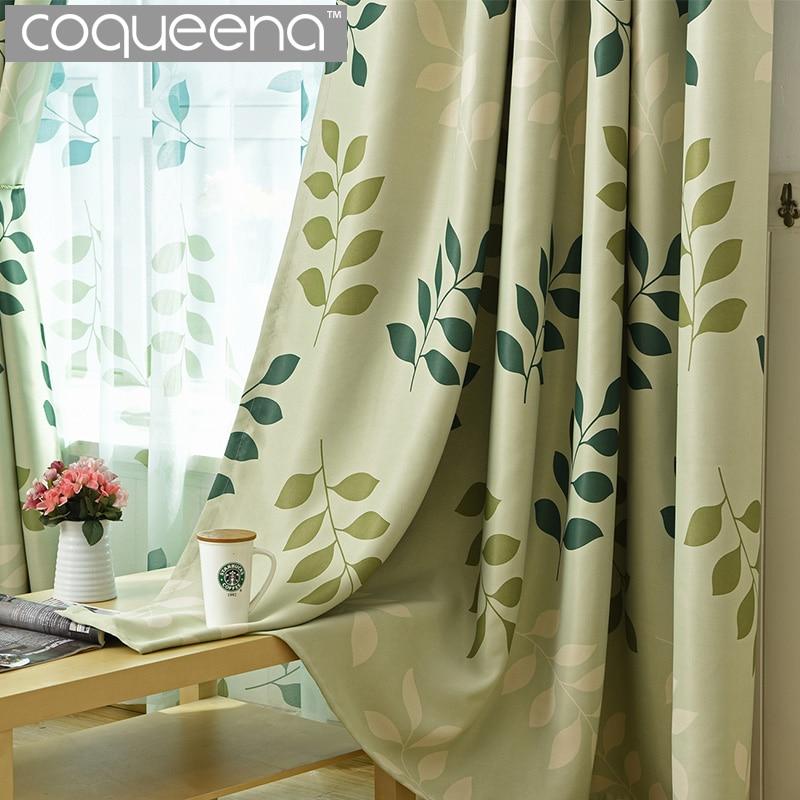 Coqueena Brand Modern Green Leaf Pattern Ready Made Custom