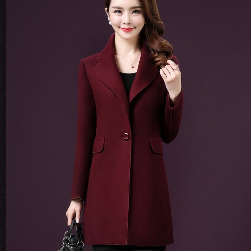 Plus Mode Top Corée Nouveau Manteau Revers Manteaux Lj259 gray red Femmes Hiver Femelle La Navy Taille Pardessus Poussière Mince Laine 2017 Niveau De YxwP6Yfq0