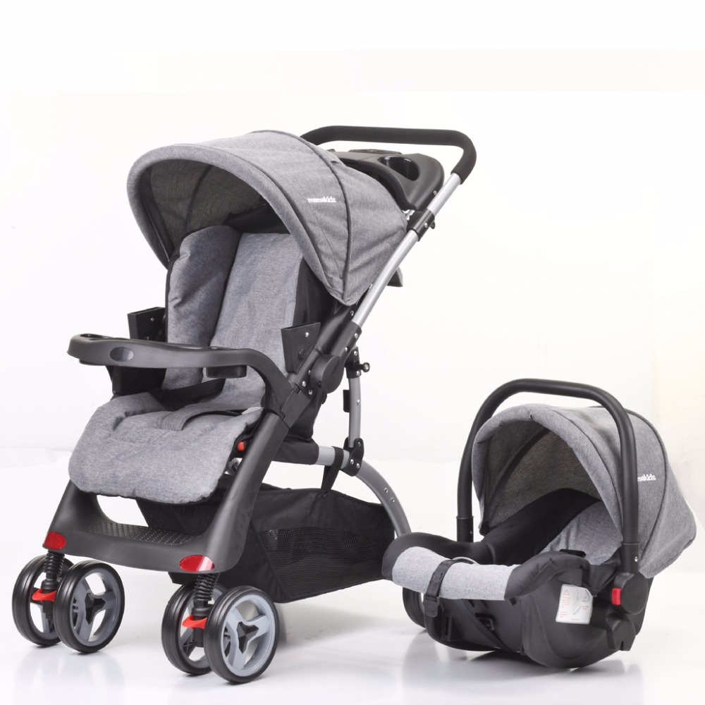 Steel Newborn 2 3 in 1 High Views Pram Baby Stroller Foldable Carriage Travel System with Car Seat carrinho de bebe 2 3 em 1