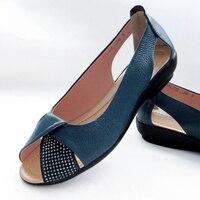 New Arrival Genuine Leather Shoes Open Toe Women Platform Sandals Mocassin Sapatilhas